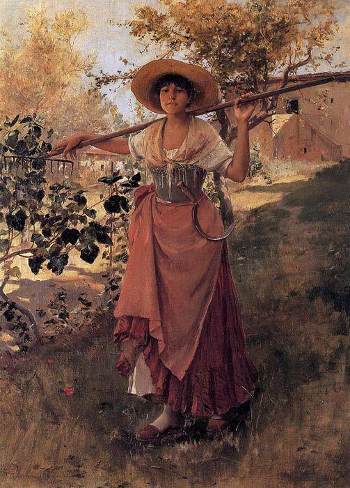 Frank Duveneck, La jeune fille à la faucille et au râteau, 1884