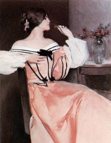 La dame en robe rose