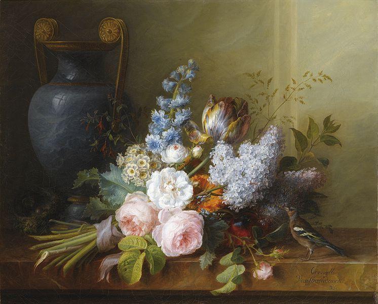 Cornelis Van Spaendonck, Bouquet de fleurs et nid d'oiseau
