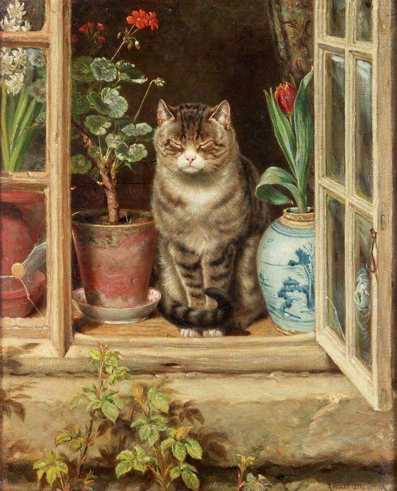 Ralph Hedley, Chat à la fenêtre d'un cottage, 1881.