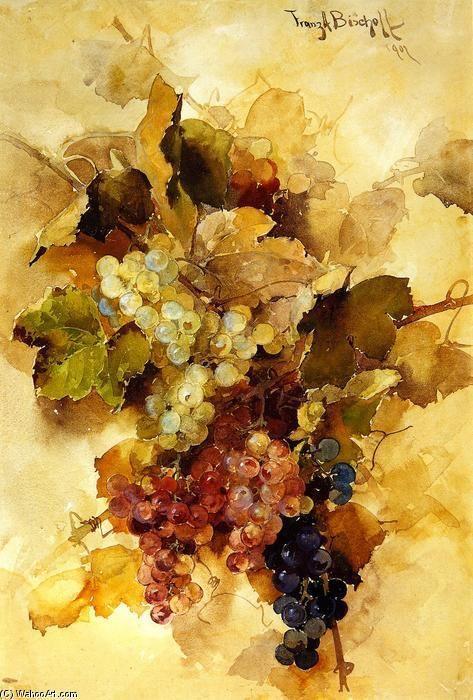 Les raisins, aquarelle de l'artiste autrichien Franz Bischoff (1864-1929).