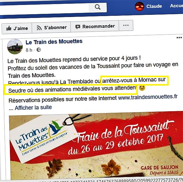 Le Facebook du Train des Mouettes signale notre présence à Mornac cette semaine d'octobre
