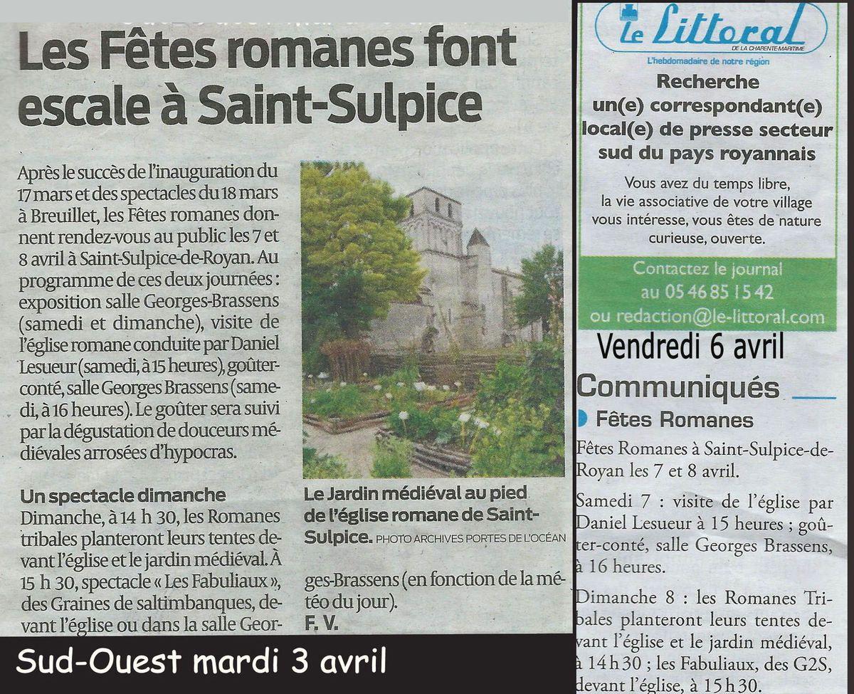 Sud Ouest et Le Littoral ont annoncé la manifestation de St Sulpice