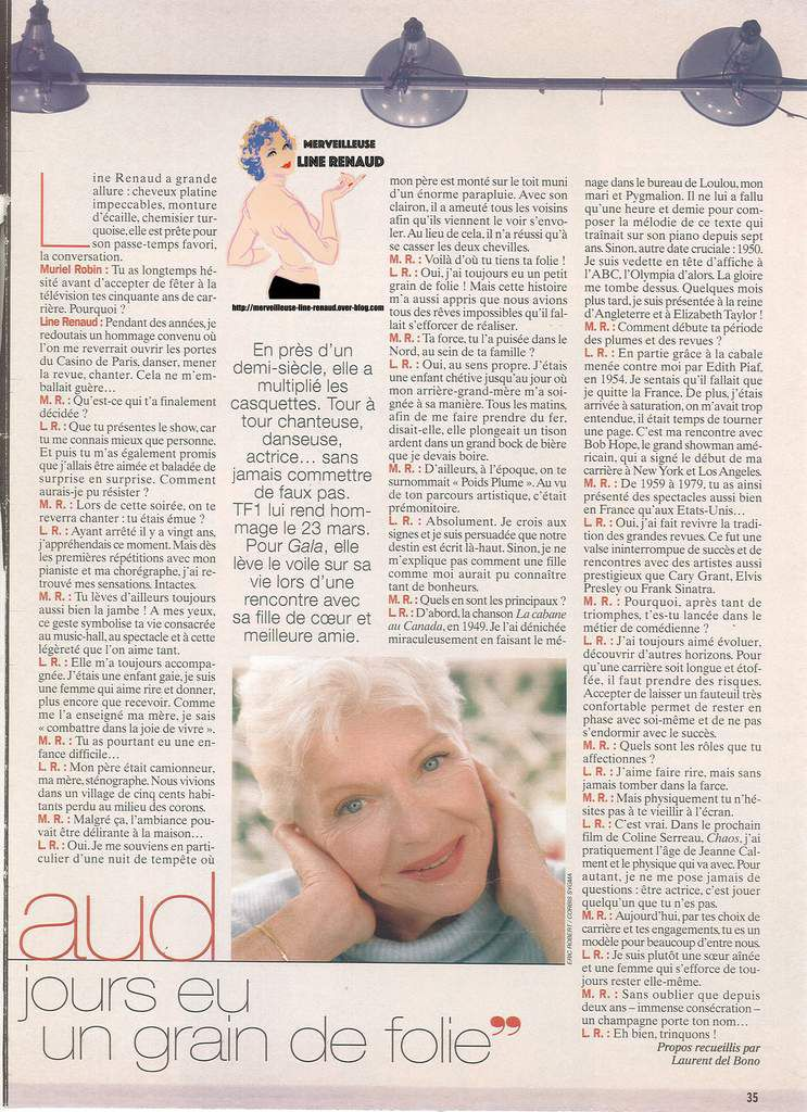 PRESSE: Coupure de presse  2001 Line Renaud