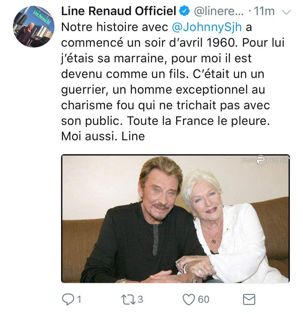 TWITTER LINE: Le message de Line Renaud