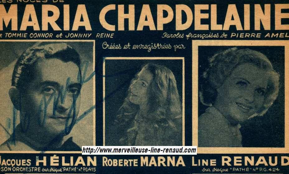 PARTITIONS: Les Noces de Maria Chapdelaine