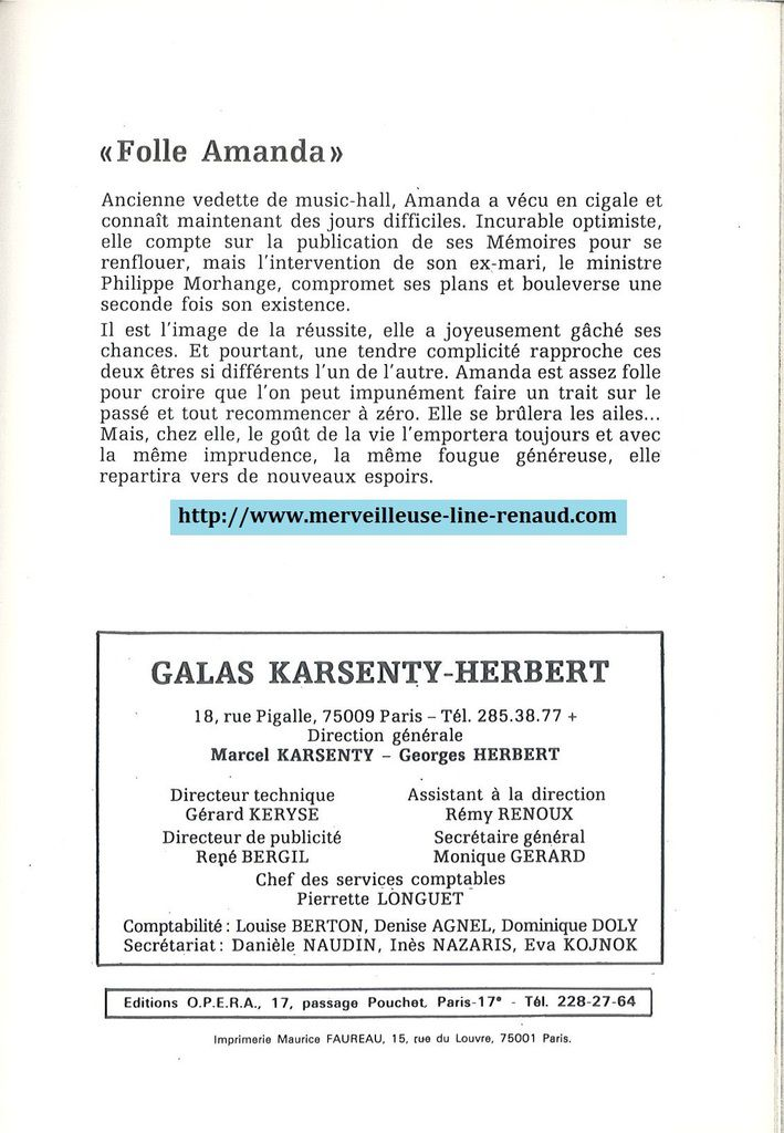 DOCUMENTS: Programme de Gala Karsenty-Herbert - Saison 1981 - 1982 - Folle Amanda