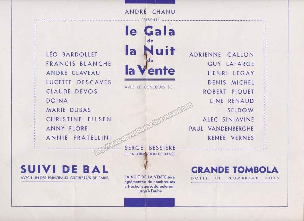 DOCUMENTS: Programme du Gala de bienfaisance «La nuit de la vente» 11 juin 1949