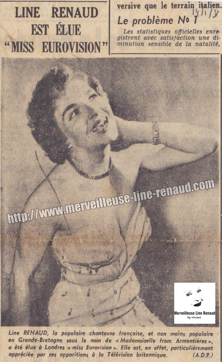 PRESSE: Line Renaud est élue «Miss Eurovision» - 1951