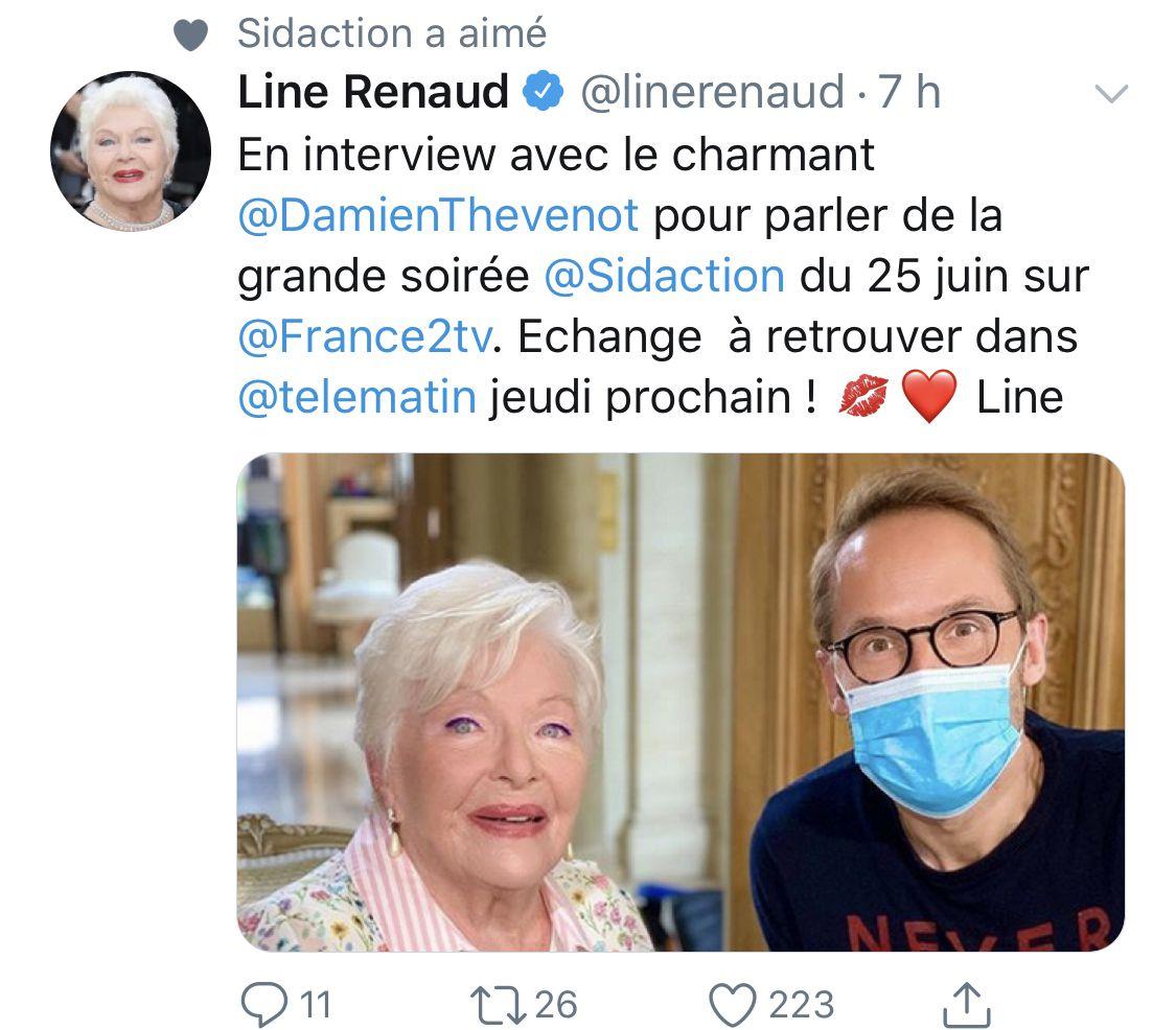 Source: Twitter officiel Line Renaud