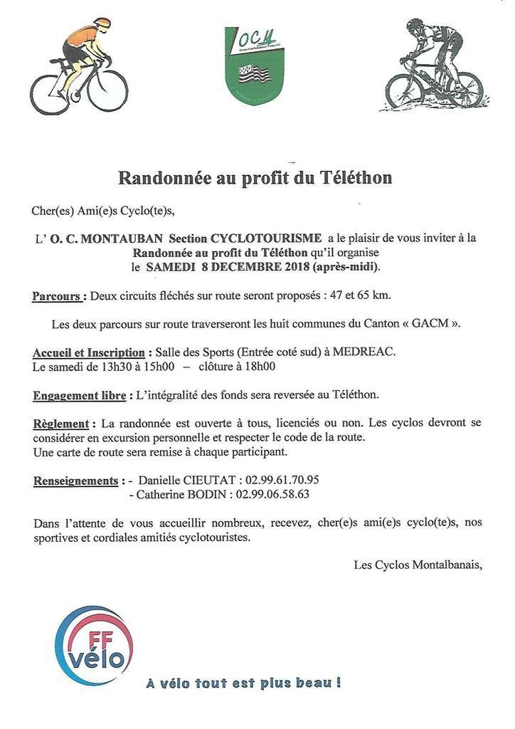 Randonnée au profit du Téléthon le 8 Décembre à Montauban de Bretagne