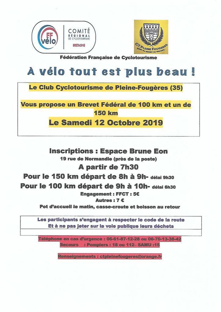 Brevets Fédéraux de 100 et 150 kms le Samedi 12 Octobre 2019 à Pleine Fougeres
