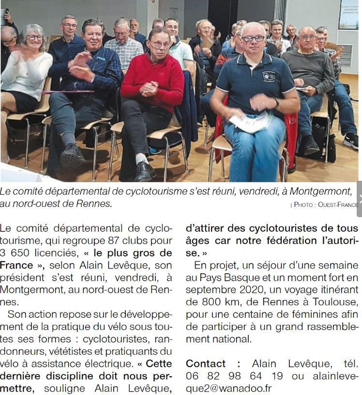 Article Ouest France AG du Codep 2019 à Montgermont et Photos