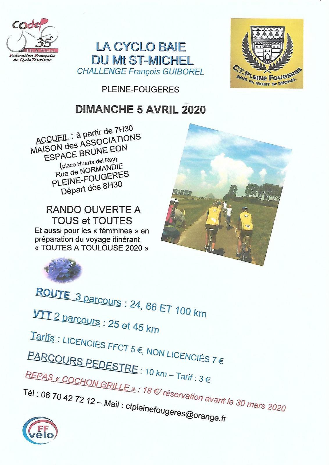 LA Cyclo Baie du Mont St- Michel Annulée  le Dimanche 5 Avril mais reportée le Dimanche 28 Juin 2020 à Pleines-Fougères