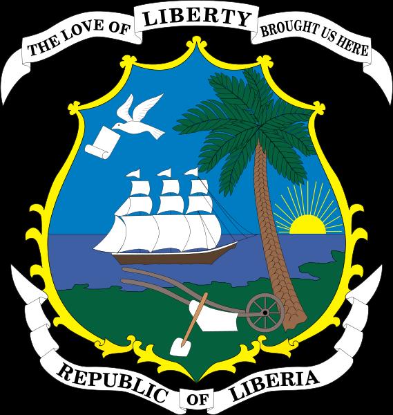 """Les armoiries du Liberia : """"L'amour de la liberté nous a conduits ici"""". La pendaison d'un esclave noir en Amérique. La pendaison d'un chef indigène par les colons du Liberia."""