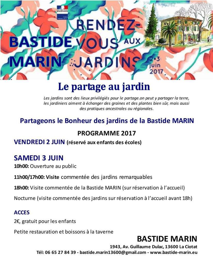 """Le thème 2017 du Ministère de la Culture est en harmonie totale avec la Bastide MARIN -  """"Le partage au jardin"""" nous offre le bonheur de vous accueillir en cette belle journée estivale du samedi 3 juin."""