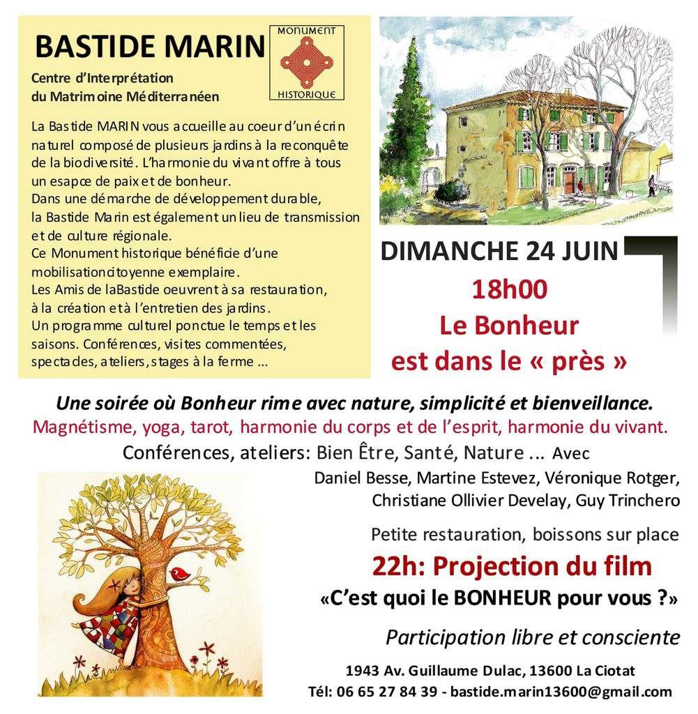 """Le Bonheur est dans le """"près"""" à la Bastide MARIN le 24 juin - 18h"""