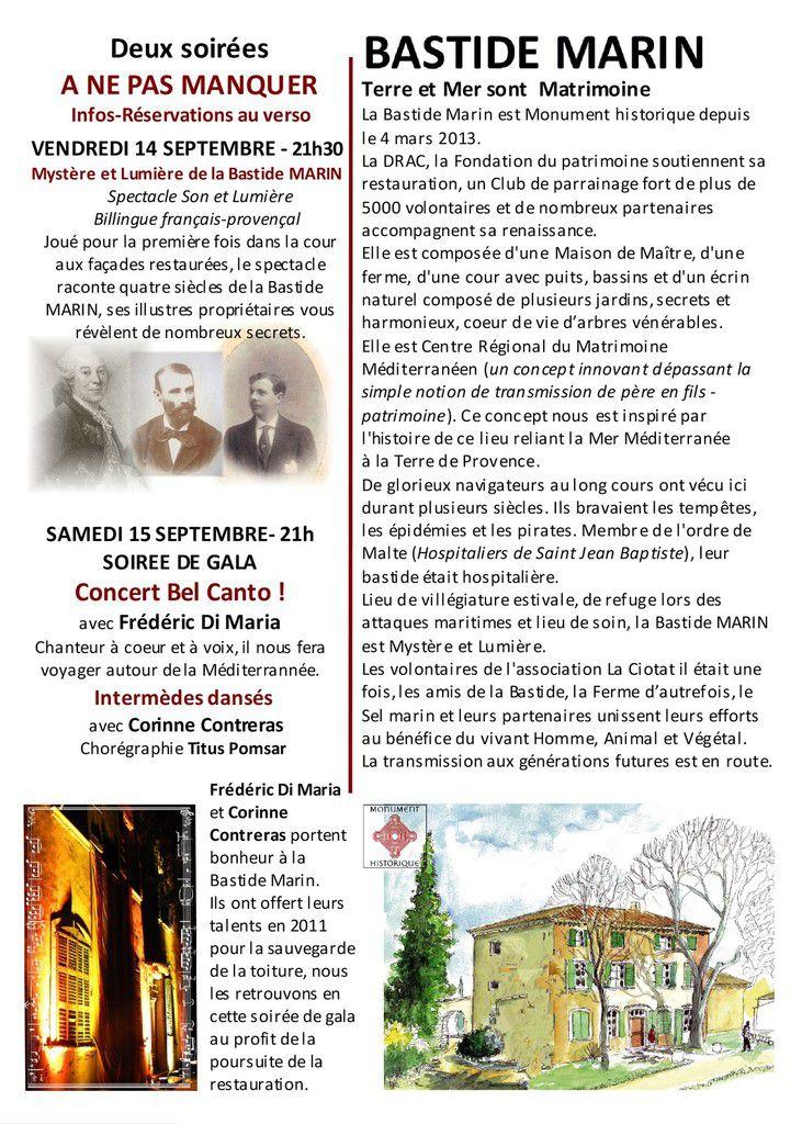 INFOS OUVERTURE AU PUBLIC DE LA BASTIDE MARIN