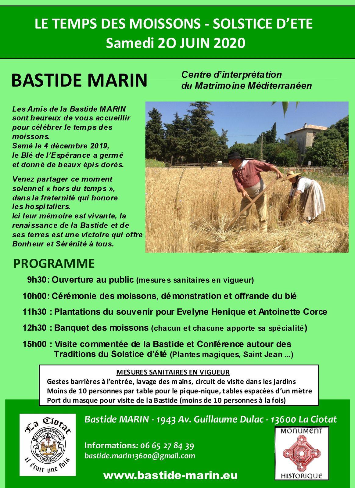 Samedi 20 juin à la Bastide MARIN - Le temps des moissons