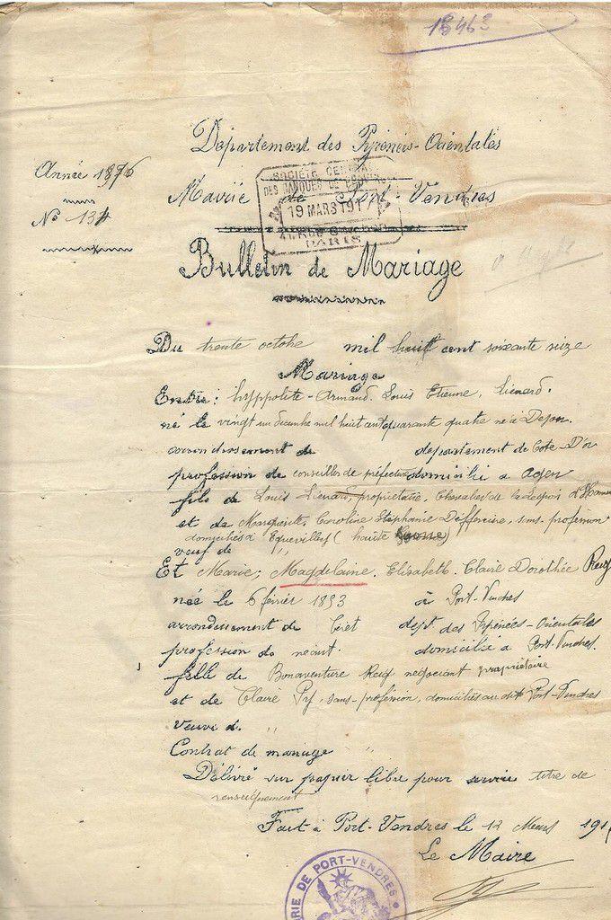 REIG-PY Marie ; LIENARD-DEFFERIERE Hyppolite ; Bulletin de mariage