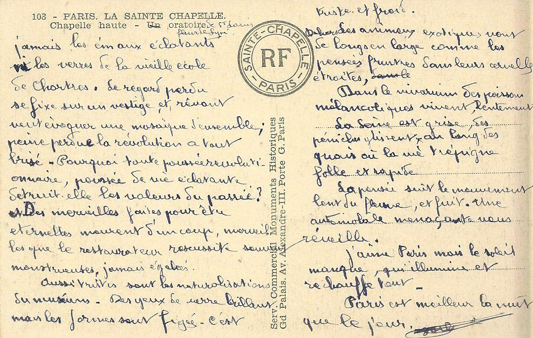 Albert Jarlier Lettre envoyée depuis Paris (La Sainte-Chapelle)