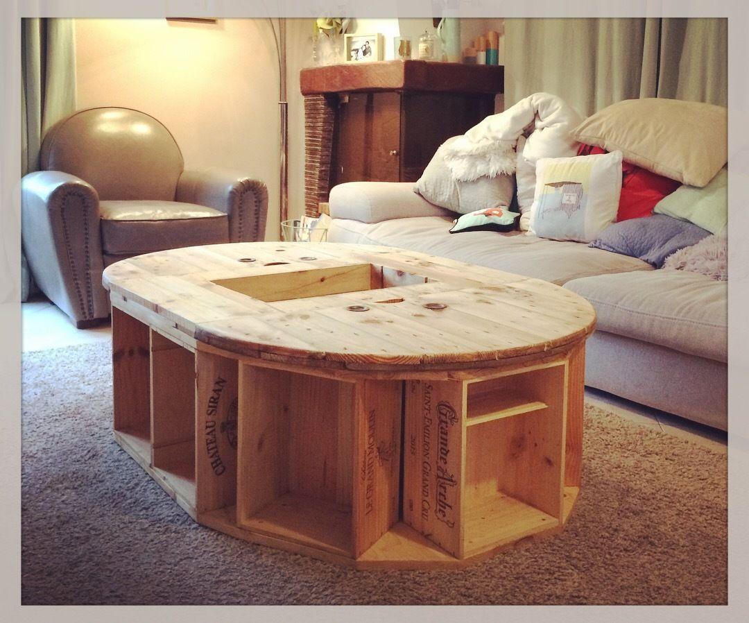Table Basse Avec Caisse A Vin table touret caisse à vin - everywood.over-blog