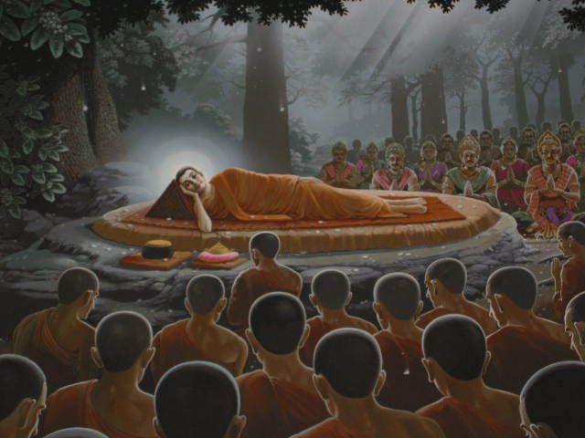 Tableau illustrant le Parinirvana - pari nipphan (ปรินิพพาน) - date du début du calendrier bouddhiste.