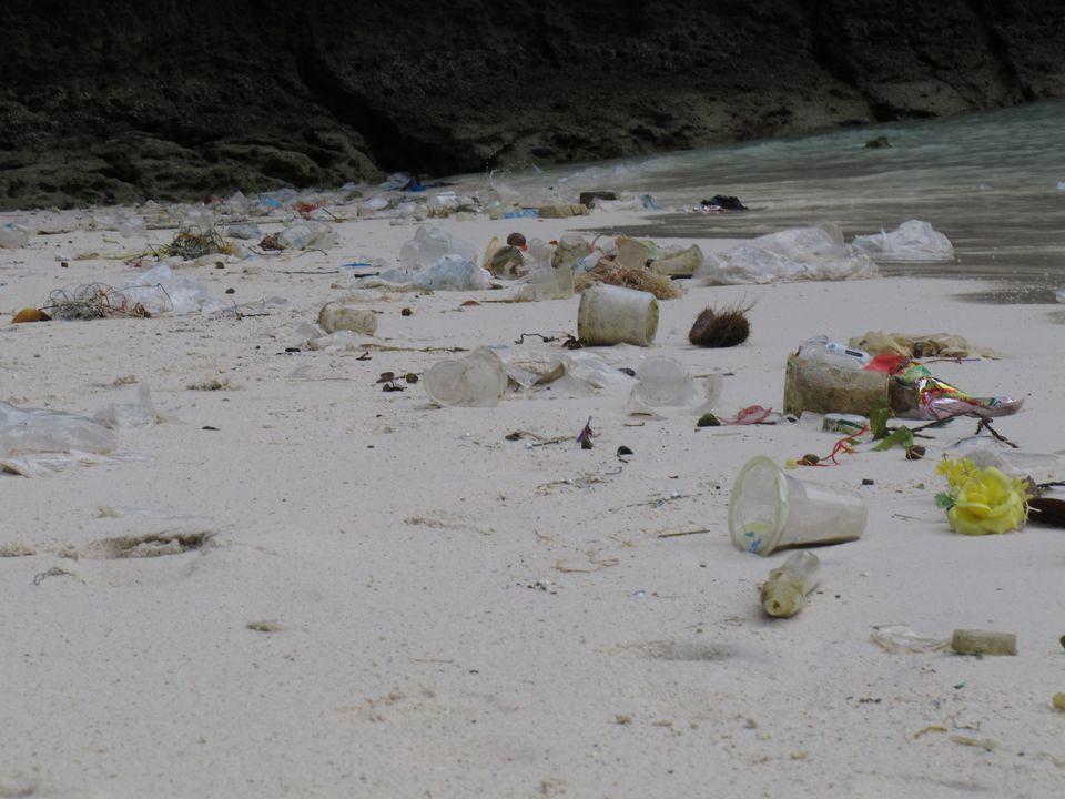 Déchets sur la plage de Maya Bay