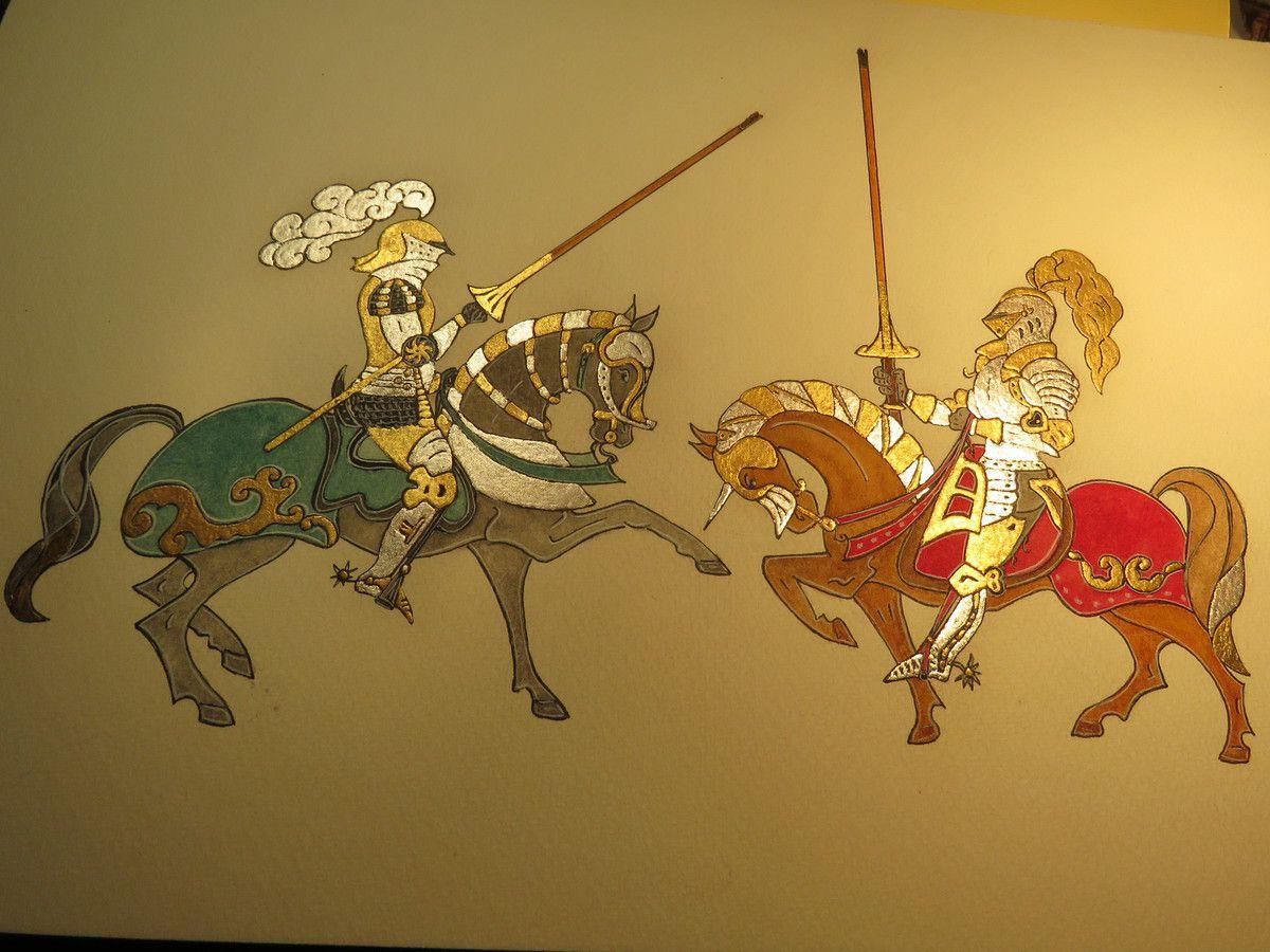 moniquekalita enlumineur bestiairemedieval chiméres chevaliers moyenâge calligraphie héraldique dorure feuilledor feuilledargent enluminure médiéviste art artistepeintre galeriedart amboise