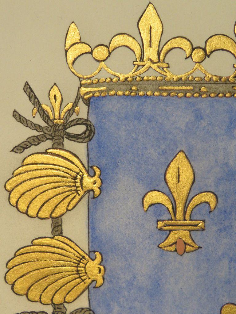 monique kalita enluminure bestiaire médiéval chimère chevalier héraldique blason armoiries art artiste peintre feuilles d ' or calligraphie