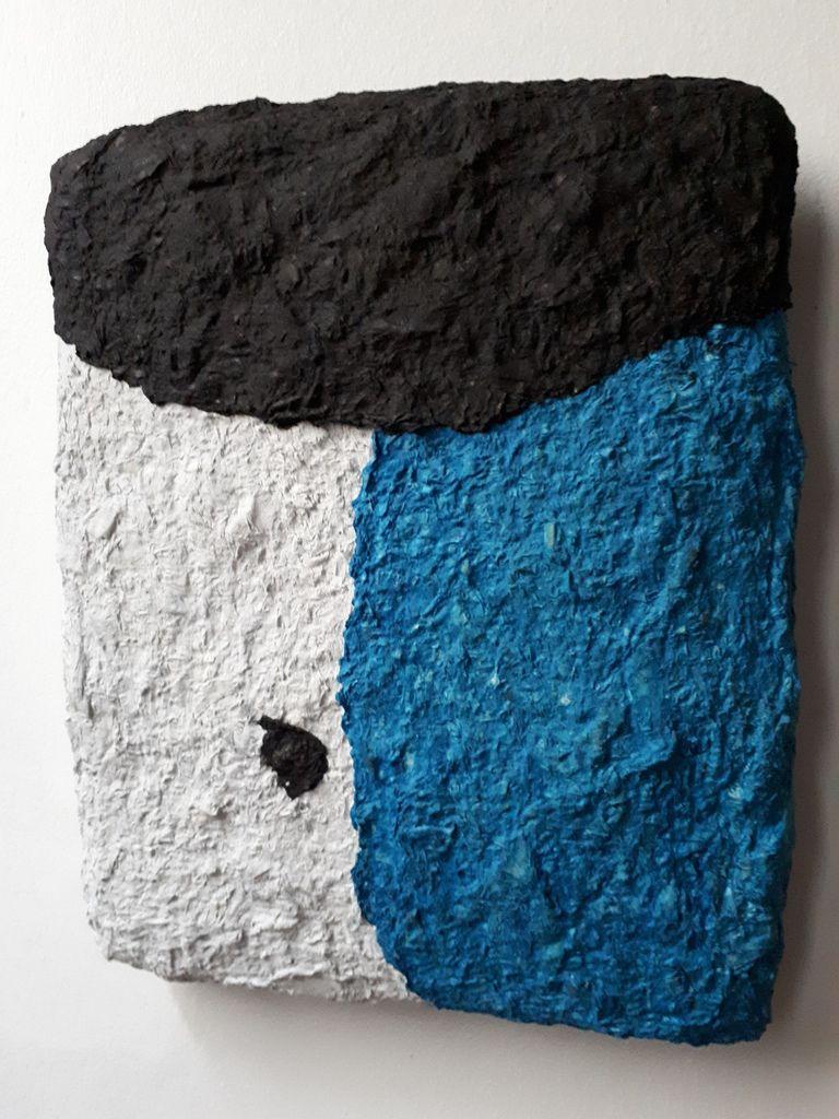 Acrylique et pâte à papier sur toile, format 3 F(22/27 cm), réalisation novembre 2017.
