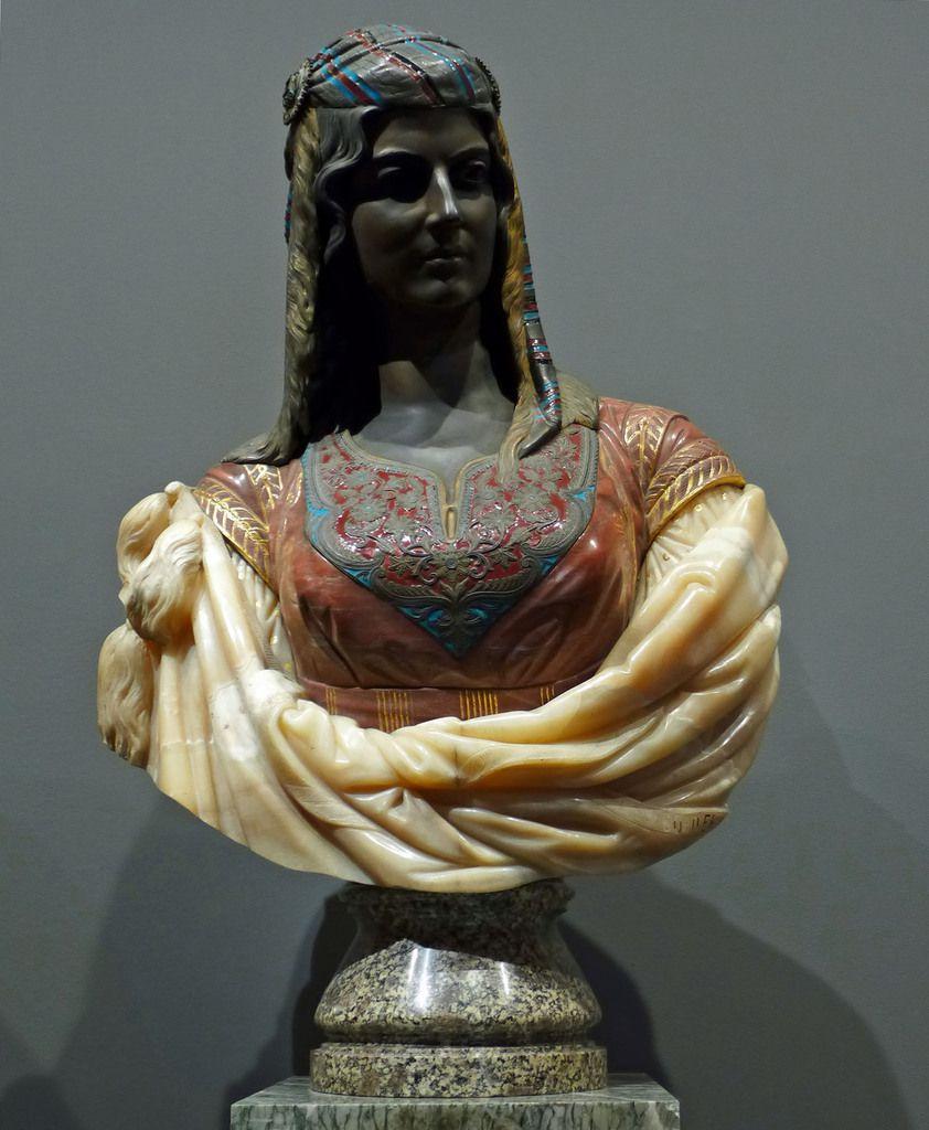 Charles Cordier - Juive d'Alger (1872) - Bronze, bronze émaillé et partiellement doré, marbre, albâtre partiellement doré et albâtre - TROYES, MUSEE DES BEAUX-ARTS