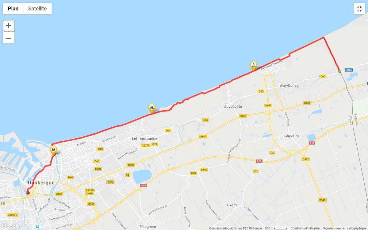 Parcours approximatif entre Bray-Dunes et Dunkerque