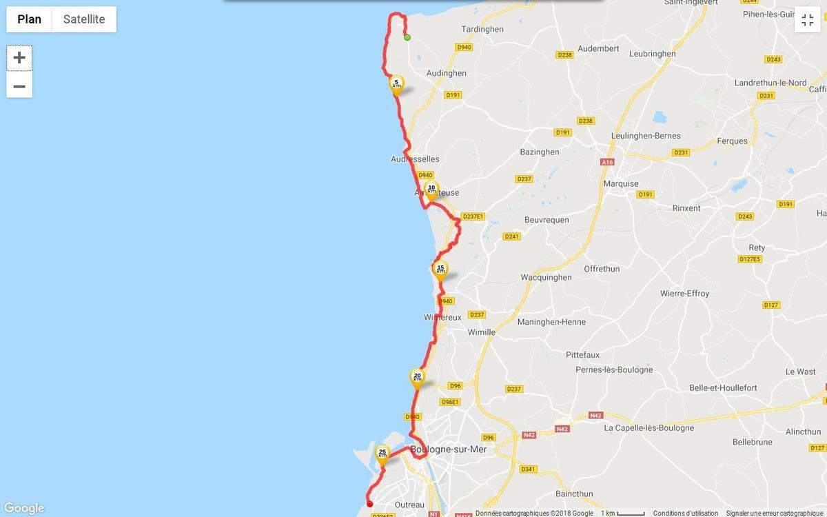 Parcours approximatif entre le Cap Gris Nez et Le Portel