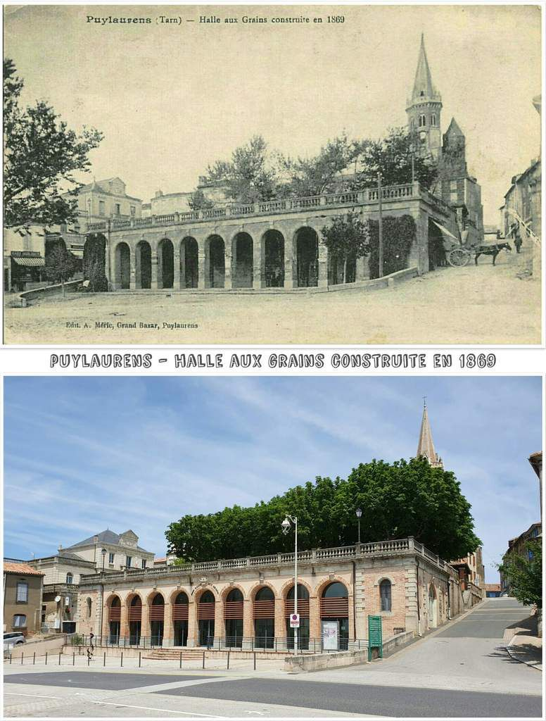 ● Les Halles aux grains d'antan et d'aujourd'hui.