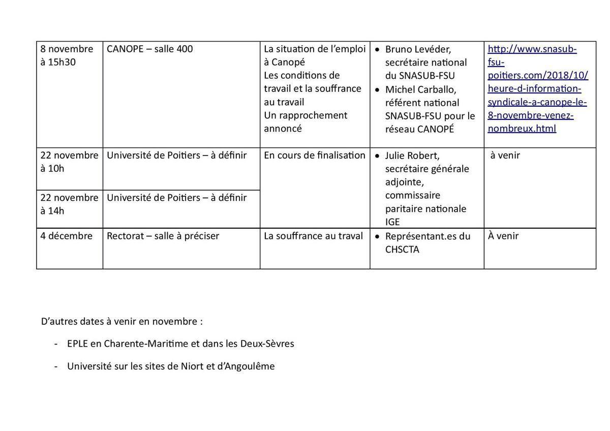 Réunions d'information syndicale SNASUB FSU