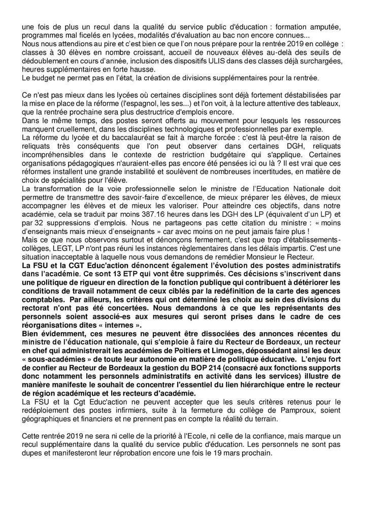 Déclaration liminaire FSU / CGT Educ'action au CTA du 12 mars 2019