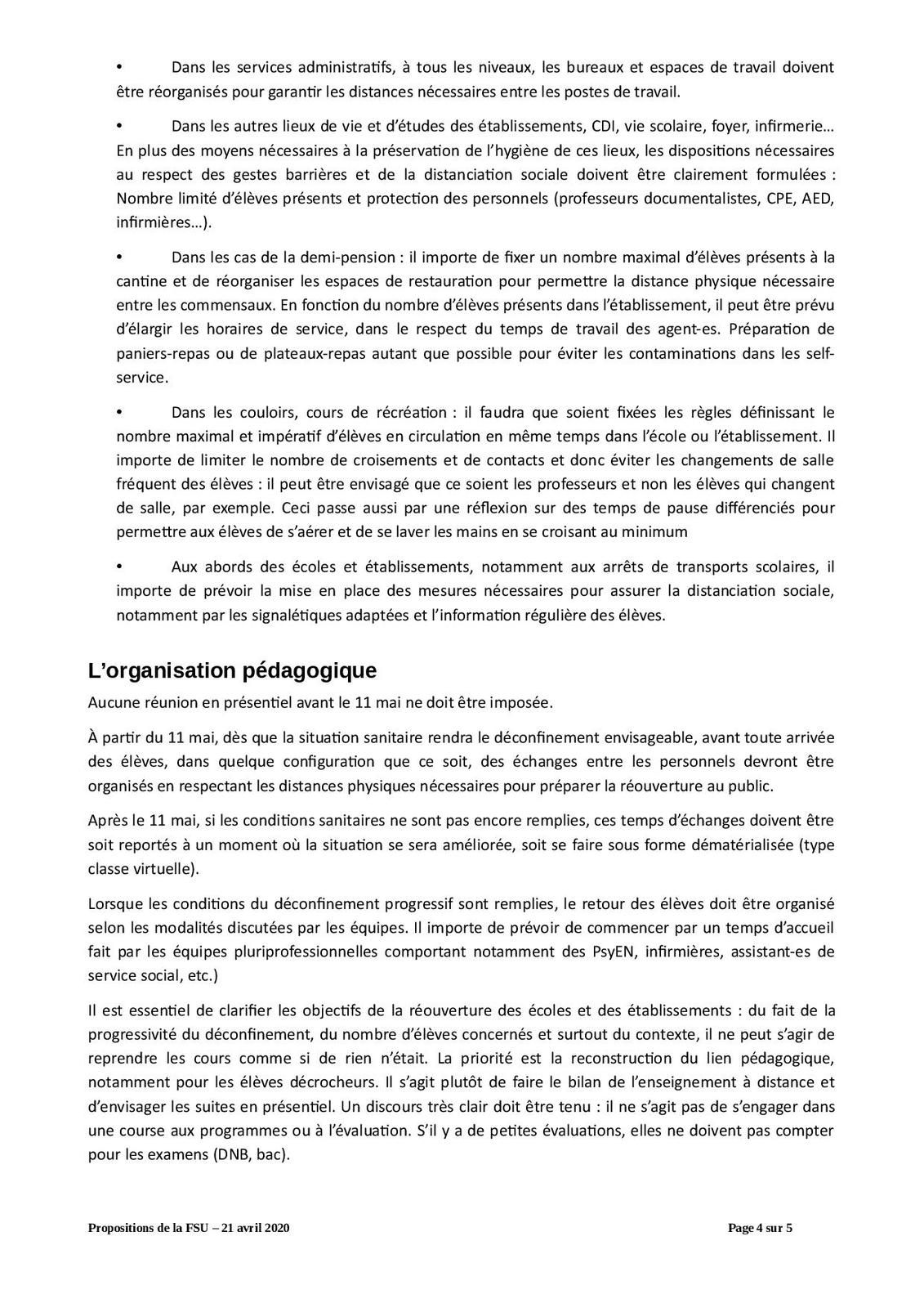 Propositions et remarques de la FSU sur la sortie du confinement