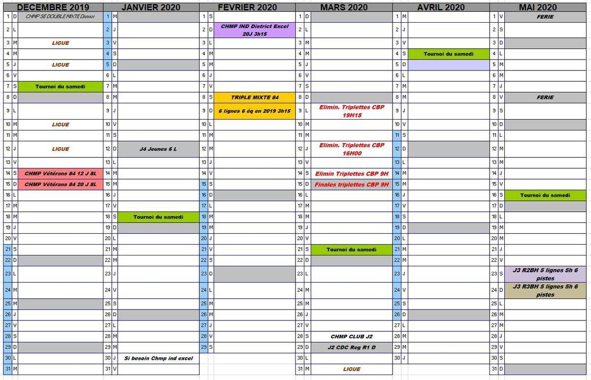 CALENDRIER ANIMATIONS ET COMPÉTITIONS SUR PERTUIS MAJ 9/12