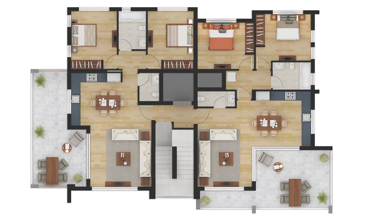 Color Floor Plan Rendering Services For