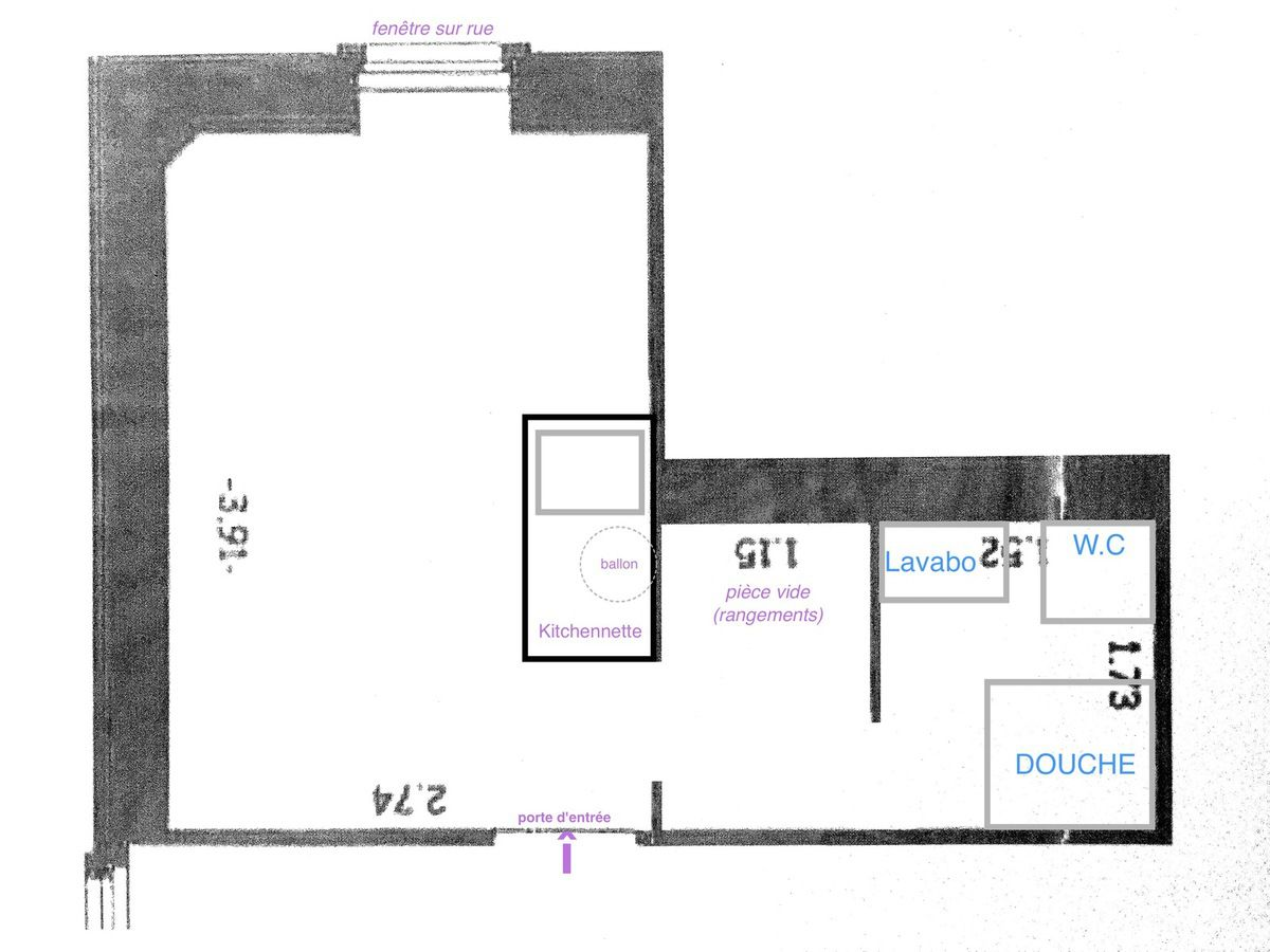 Plan du studio, avant intervention