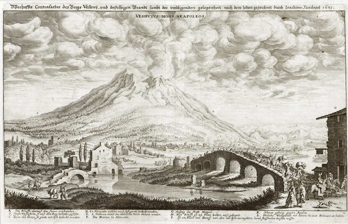 Siouxie and the Banshees : Cities in Dust trnaslated in French. The Vesuvius volcano eruption drawn in 1631