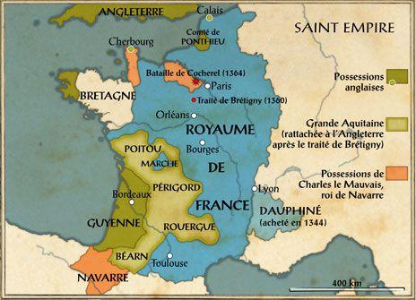 Carte de France à l'issu du traité de Brétigny ©Gallimard-Jeunesse