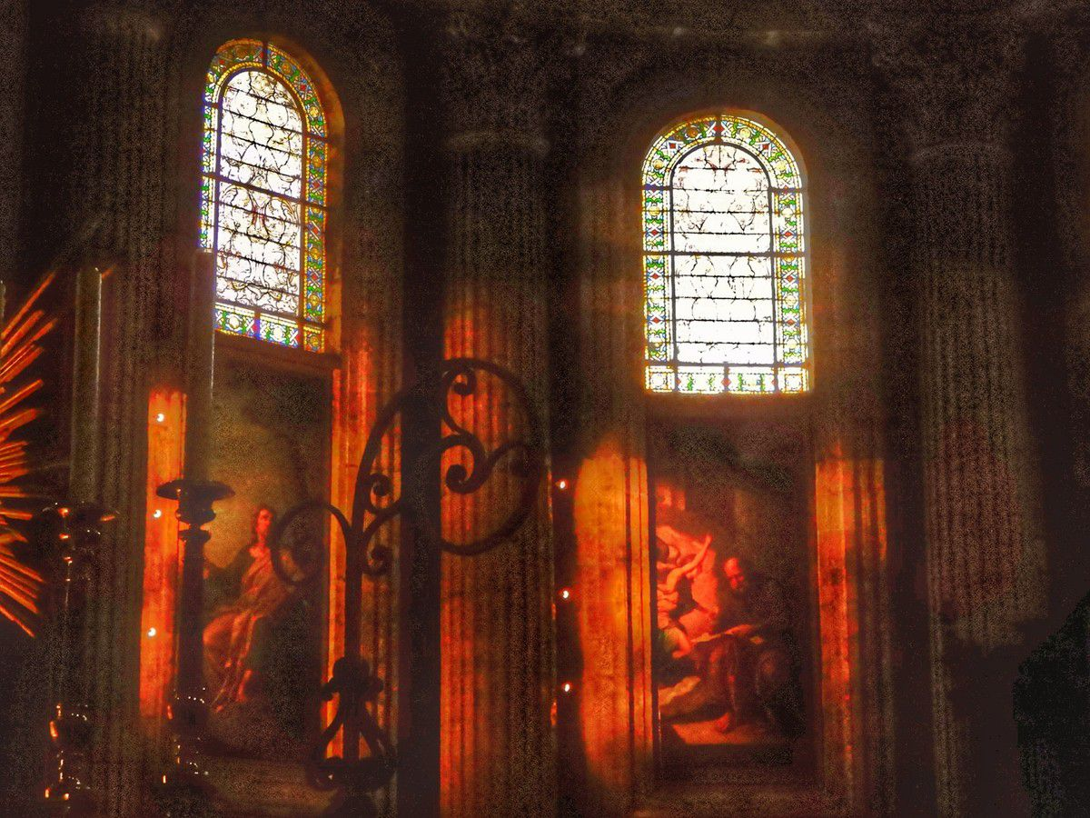 Saint Jean-Baptiste appelle ses fidèles, ses drapés ne manquent pas de dignité, ses sombres recoins conservent les reliefs de riches heures passées pendant que la nef s'éclaire d'une lumière surnaturelle (intérieurs plus ou moins retouchés digitalement).