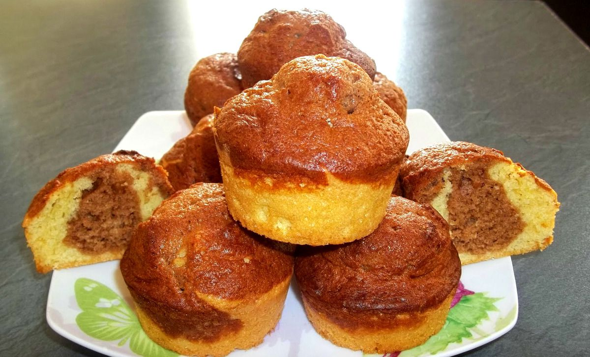 muffins marbrés, chocolat au lait, recette, cook, goûter, cuisine facile et rapide