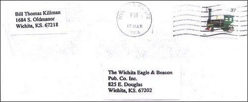 Lettre de BTK à destination de l'Eagle Wichita