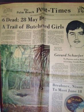 "Une du journal The Palm Beach Post Times ""Gerard Schaefer"" ""psycho-criminologie.com"""