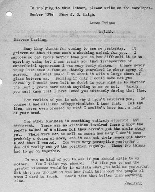 """John haigh-lettre à son ex épouse, barbara stephens """"psycho-criminologie.com"""""""