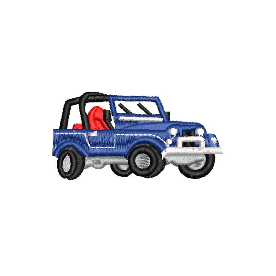 BRODERIE JEEP BLEUE