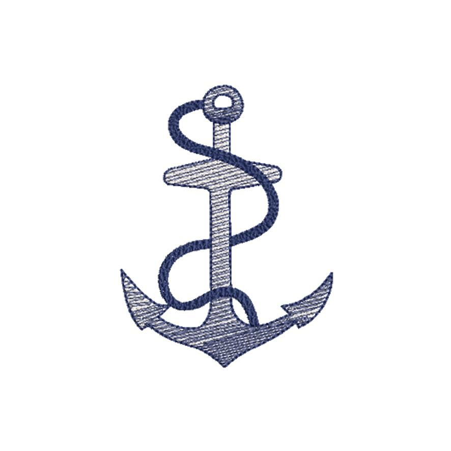 BRODERIE ANCRE BLEUE MARINE